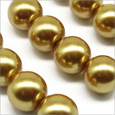 Lot Of 10 Pearly Beads Glass 12mm Golden Dark