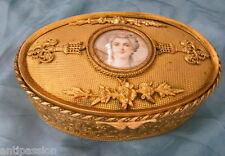 Coffret ou boite à bijoux avec miniature,métal doré style Louis XVI,époque 19ème