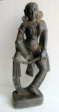 Antique Old Hand Carved Deep Work Marble Stone South India Goddess Apsara Statue
