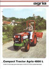 Equipment Brochure - Agria - 4800 L - Compact Tractor - Farm - c1981 (E3349)