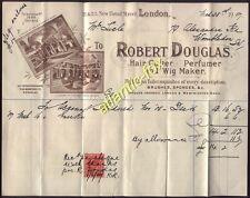 1907 London HAIR CUTTER, PERFUMER & WIG MAKER. Robert Douglas 21-23 NEW BOND ST