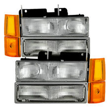 GMC 94-98 Sierra Suburban Yukon Replacement Headlights Bumper Corner Lamps Set