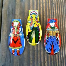 3 Original Tin Litho WESTERN COWBOY COWGIRL INDIAN Cricket Clickers 1960s TOY
