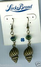 Bt Earrings ~ Beautiful Gift! Lucky Brand Seashell w/Crystal Antique