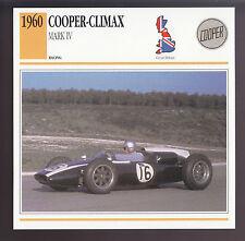 1960 Cooper-Climax Mark IV Jack Brabham Race Car Photo Spec Sheet Info CARD