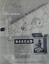 PUBLICITE NESTLE NESCAO LAIT CHOCOLAT BEBE PETIT DEJEUNER DE 1956 FRENCH AD PUB