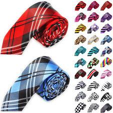 Classic Skinny Men's Slim Striped Party Tie Plain Silk Jacquard Woven Necktie