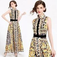 Womens Fashion Temperament Turn-Down Collar Printing Sleeveless Dress Ballgown