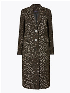 M&S COLLECTION BLACK MIX TAILORED JACQUARD COAT WITH WOOL