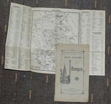 """BELGIUM BRUGES ILLUSTRATED GUIDE ~ 1910 EDITION """"STANDARD"""" IN FRENCH w.CITY PLAN"""