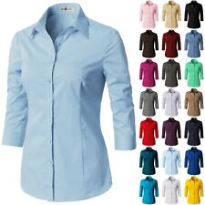 Womens Button Down Shirt Basic SLIM FIT Simple 3/4 Sleeve Collared Work