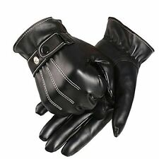 US 1 Pair Stock Men's Faux Leather Winter Warm Bike Bicycle Cycling Gloves Black