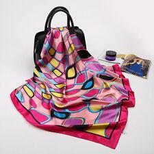 "Women's Red Silk-Satin Square Scarf Fashion Geometric Printed Shawl 35""*35"""