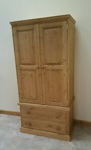 woodstock double wardrobe two drawer solid pine. Delivery can be arranged.