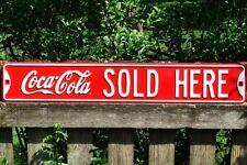 Coca-Cola Sold Here Embossed Metal Steel Street Sign - Vintage - Retro - Coke