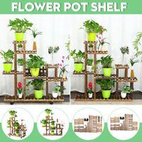Wooden Succulent Flower Pot Stand Indoor Space Saving Balcony Floor Stand Decor