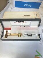 Vintage New 1967 Gillette Aristocrat M3 Adjustable 1-9 Safety Razor Gold W/ Box
