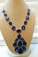 Statement Necklace Blue Glass & Rhinestones Designer Signed M