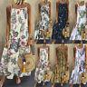 Ladies Women Vintage Bohe Sleeveless O Neck Plus Size Floral Print Maxi Dress