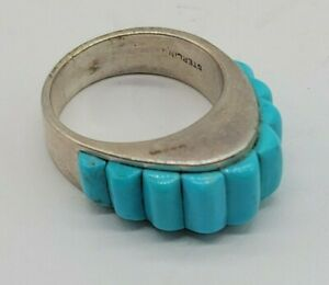 Size 6 Native American Style Triangular Shape Ring Rounded Rectangle Turquoise