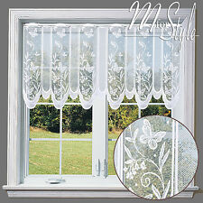 "White Cafe Net Curtain Lace Butterflies 24"" drop Price Per Metre"