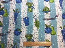 Vintage Cotton Fabric 50s CUTE Veggie Stripe 35w 1yd
