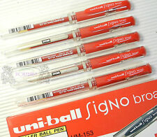 Free shipping 12 pcs Uni-Ball UM-153 1.0mm Broad roller ball pen RED ink