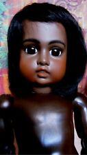 Beautiful dark crescent Bru reproduction artists doll human wig, glass eyes