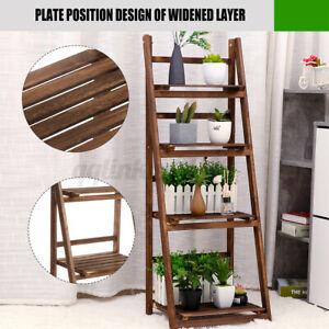 4 Tier Wooden Ladder Shelf Plant Flower Stand Shelves Folding Indoor Outdoor AU