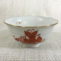 Herend Porcelaine Sucrier Apponyi Orange Rouille Chinois Bouquet Main Peint