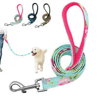 4ft Nylon Pet Dog Walking Leash Floral Dog Lead Clip Metal Snap with Mesh Handle