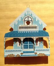 1995 SHELIA'S BLUE COTTAGE VICTORIAN HOUSE CHRISTMAS ORNAMENT, FIRST EDITION, SC