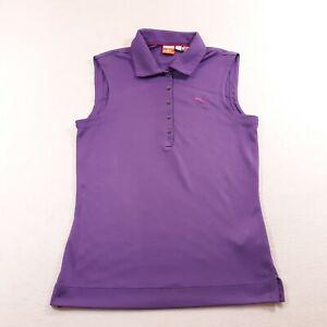 Puma Golf Polo Sleeveless Shirt Womens XS Purple Lightweight Casual Button Up