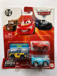 DISNEY PIXAR CARS MINI RACERS LIGHTNING McQUEEN, THE KING, DEXTER HOOVER