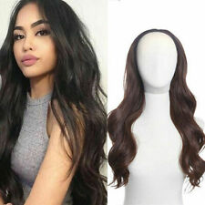 "15-24"" Natural Wavy Machine Weft Cap 100% Remy Human Hair Glueless 3/4 Half Wigs"