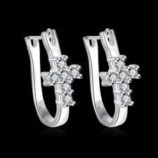 Cross Hoop Earrings For Women E311 Hot 925Sterling Solid Silver Jewelry Crystal