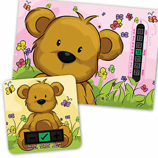 Pink Teddy Bear A5 CHAMBRE Thermomètre & beige ours bain thermomètre Set