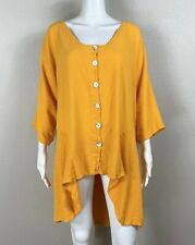 OH MY GAUZE! Mango Blouse Cotton Pearlized-Button High/Lo Hem - NTSF