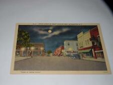 VINTAGE POSTCARD Union St.at night looking west Morganton NC linen Greene studio