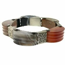 Granite Engraved Grooved Bracelet Cuff Scottish Sterling Silver Sardonyx Jasper