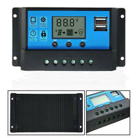 LCD 10A 20A 30A 12/24V USB Solar Panel Battery Safe Regulator Charge Controller