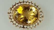 Vintage & antique brooch & necklace 14k yellow gold with pearl & Citrine