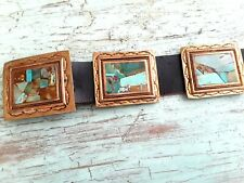 Exquisite Navajo Sterling Turquoise Mosaic Belt Signed Museum Quality  Art