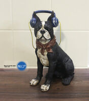 French Bulldog Boston Terrier  Wearing headphones for MUSIC Resin statue
