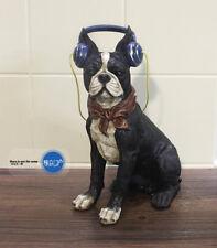 French Bulldog Boston Terrier  Wearing headphones for MUSIC Resin statue s1854