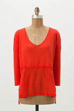 Anthropologie Rifting Pullover Size XS, Red Breezy Cotton Tee Top By Benandlucia