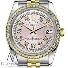 Women's Rolex 36mm Datejust 2 Tone Pink String Diamond Dial with Vintage Style