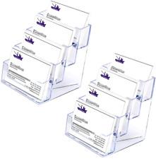 Hipiwe 2 Packs 4 Tier Acrylic Business Card Holder Stand Clear Desktop Index Car