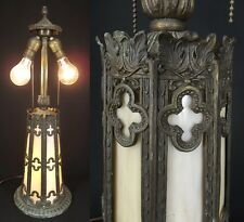 ANTIQUE Art Nouveau Table Lamp night LIGHTED BASE Slag Glass iron DOUBLE SOCKET