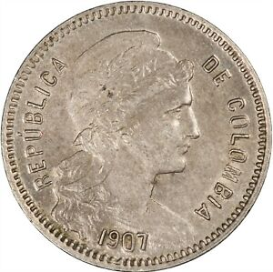 Colombia 1907 Peso ABOUT UNC